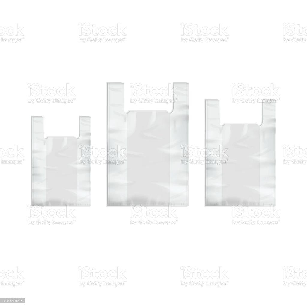 Set of White Disposable Plastic Shopping Bags vector art illustration
