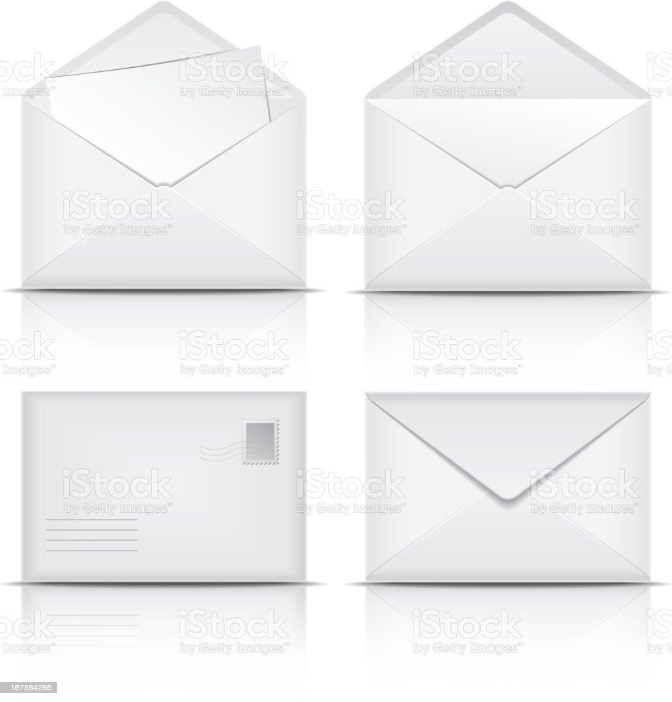 Set of White envelopes. royalty-free stock vector art