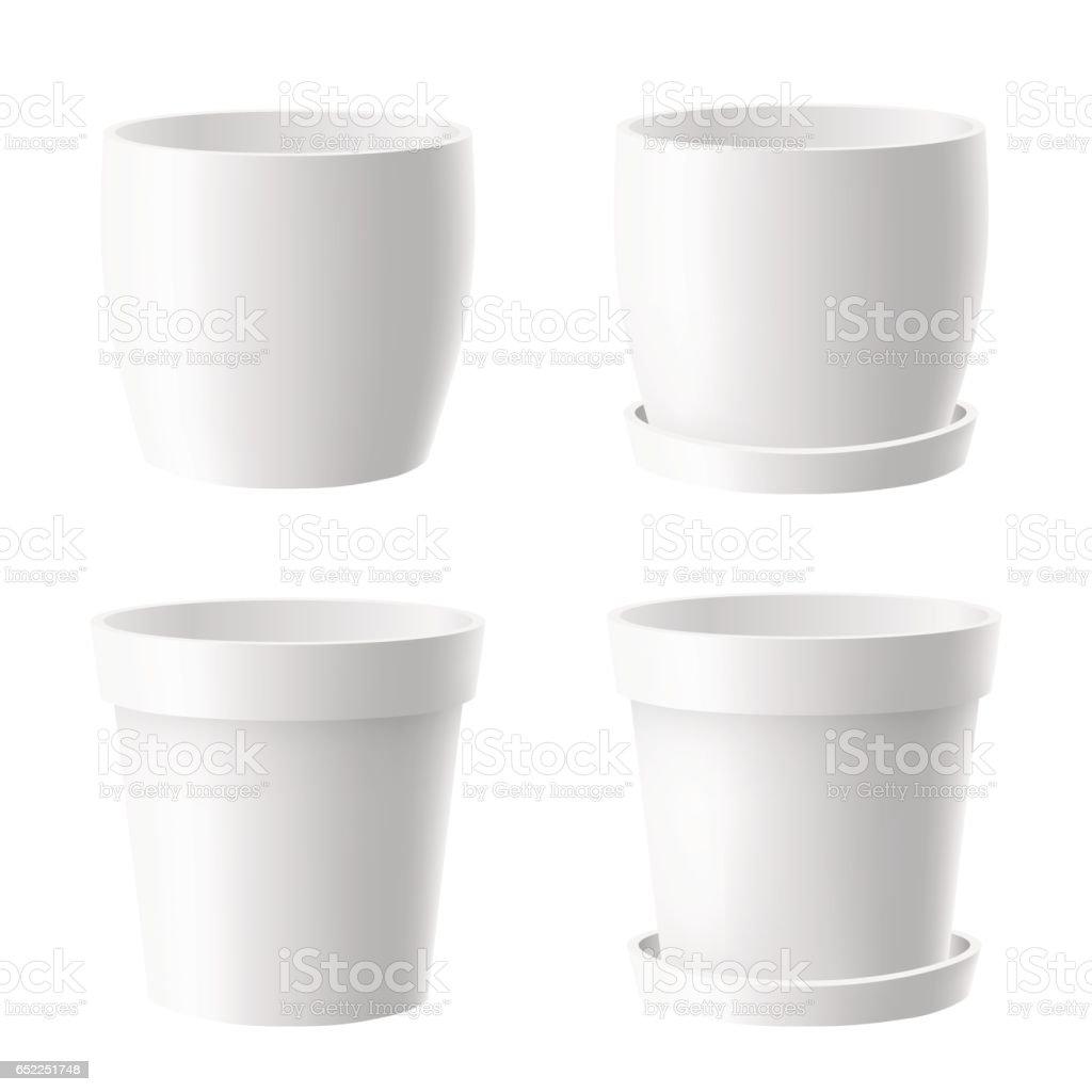 set of white flower pot vector art illustration