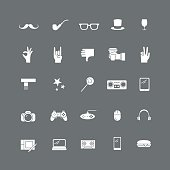 Set of white icon with hipster items.