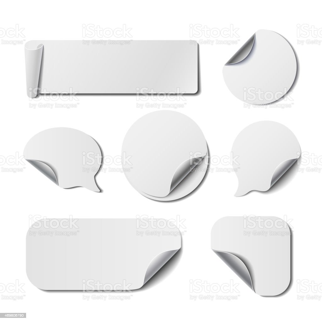 Set of White Isolated  Stickers vector art illustration