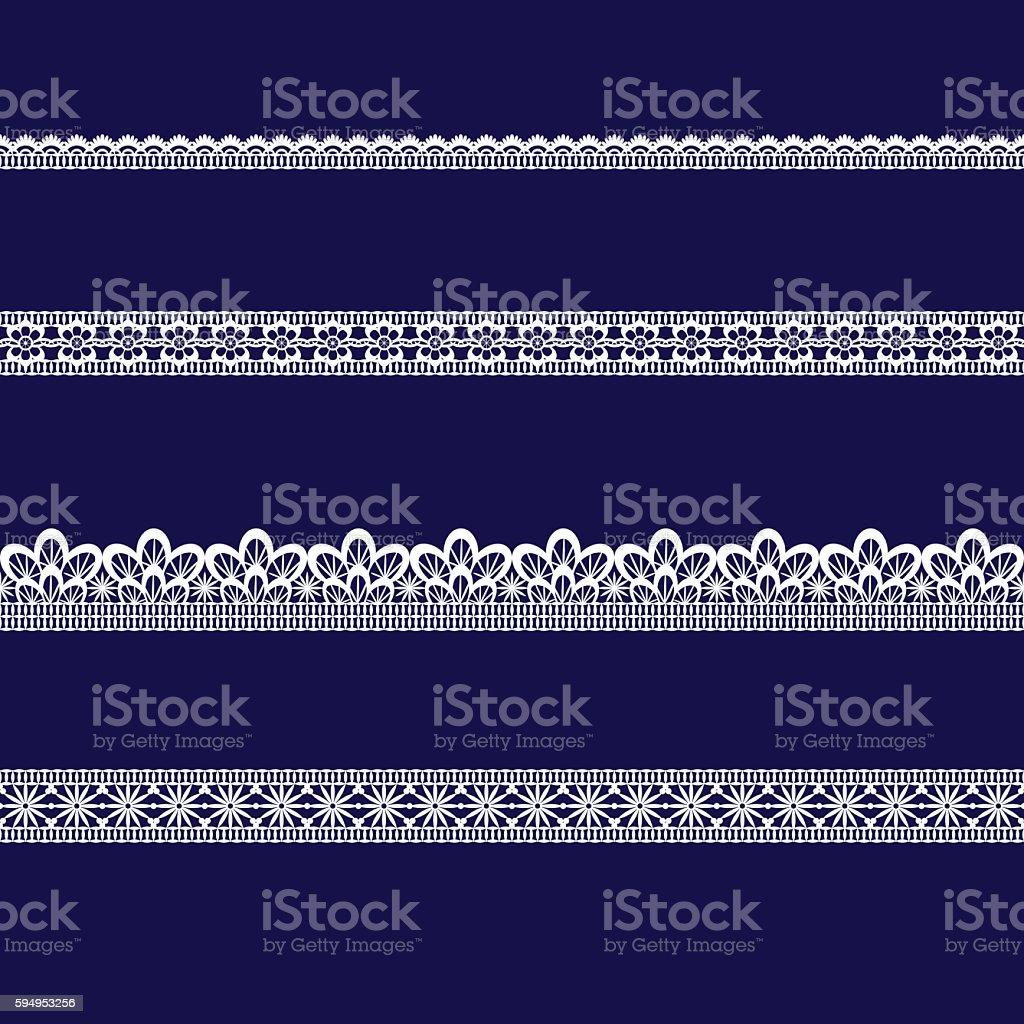 set of white lace ribbons vector art illustration