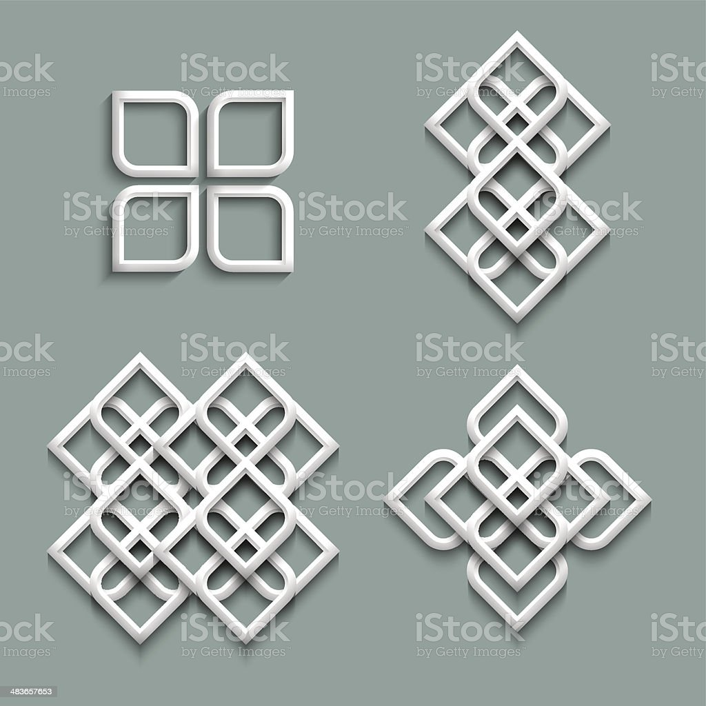 Set of white ornaments in arabic style vector art illustration