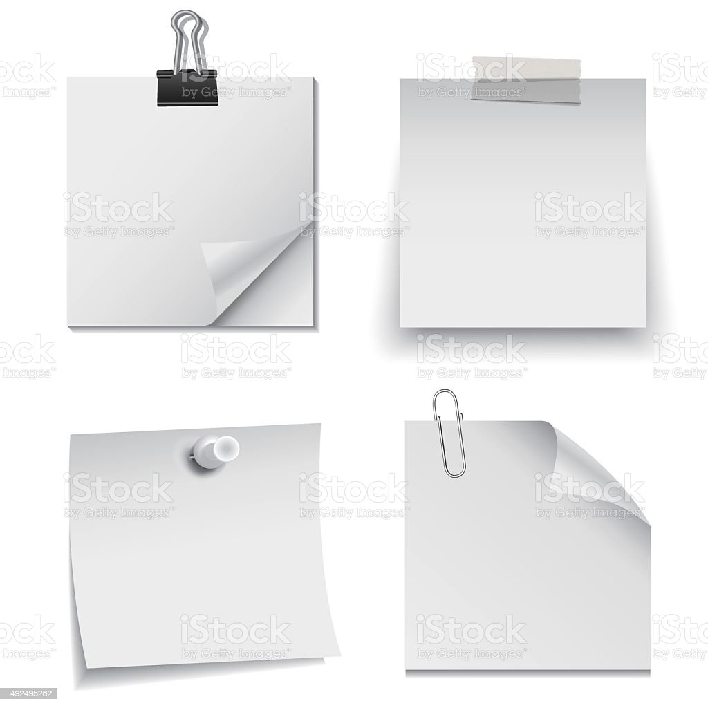 Set of white paper notes with paper clip, tape, and pin vector art illustration