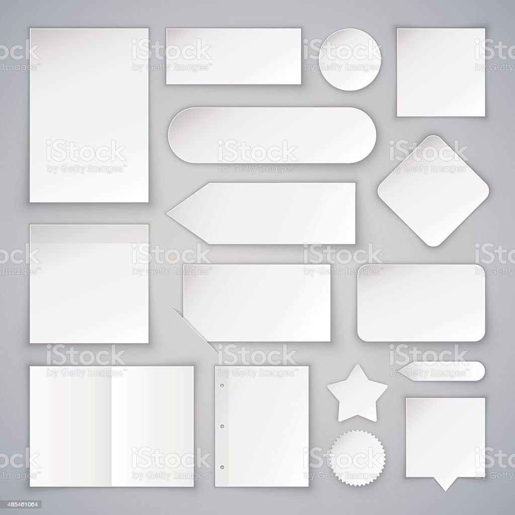 Set of White Paper Sheets Mock Ups and Banners vector art illustration