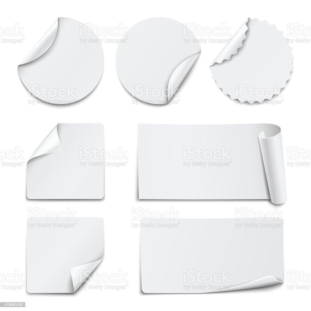 Set of white paper stickers on white background. Vector illustration vector art illustration