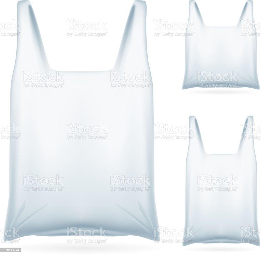 Set of White Plastic Bag royalty-free stock vector art