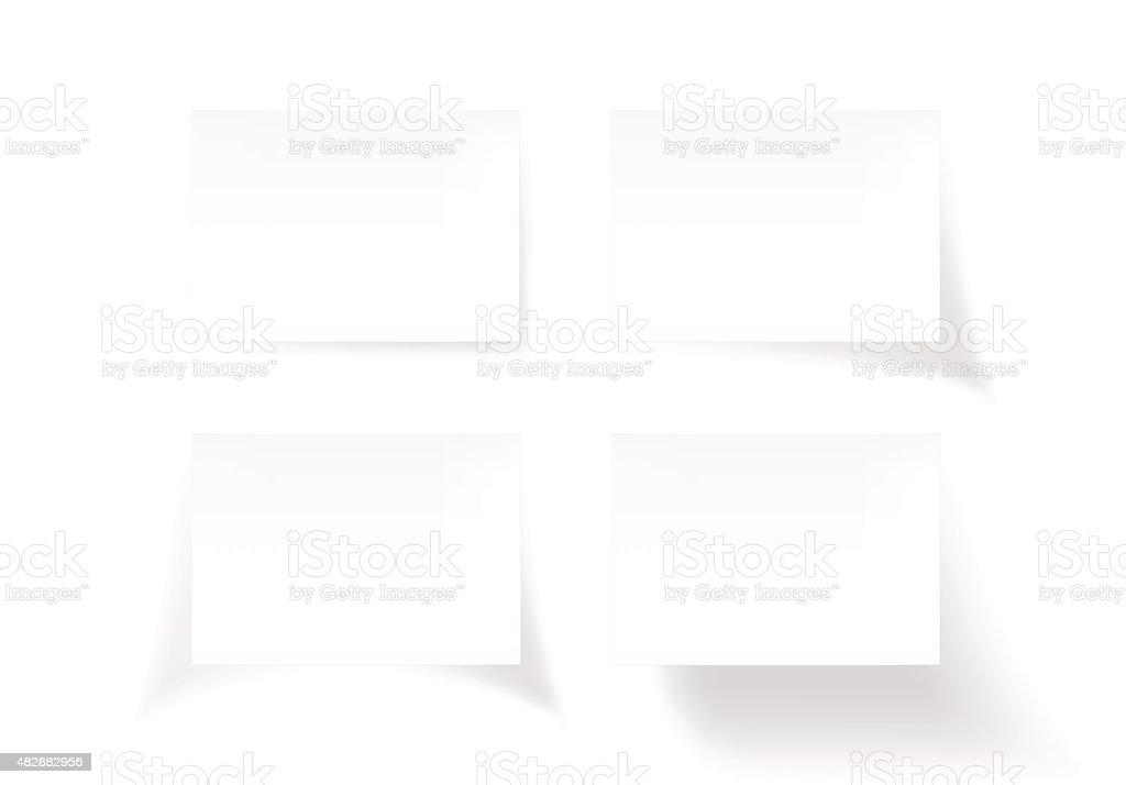 Set of white stick note isolated on white background, vector vector art illustration
