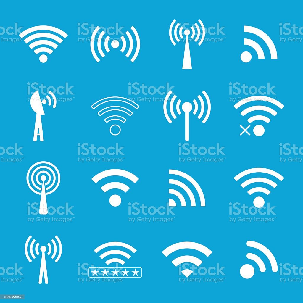set of white wifi icons on blue background vector art illustration