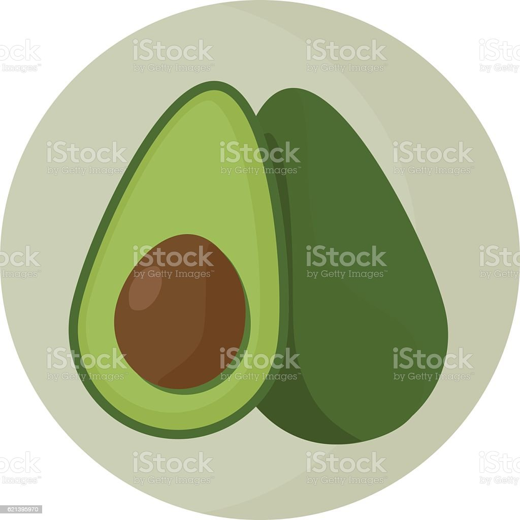 Set of whole and sliced vector avocado. vector art illustration
