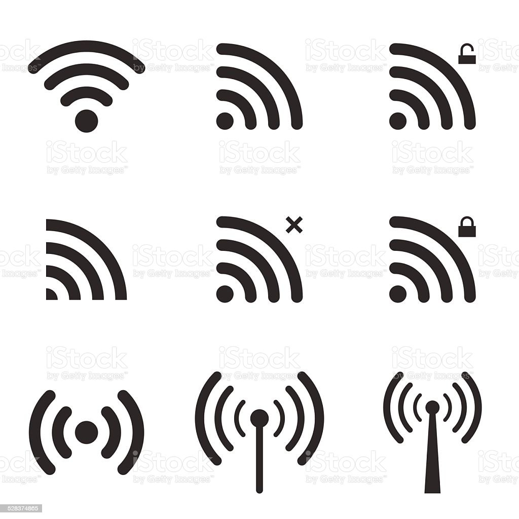 Set Of Wi-Fi And Wireless Icons. WiFi Zone Sign. vector art illustration