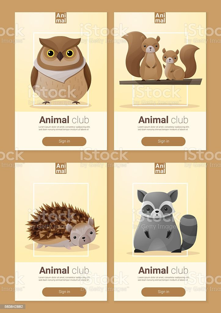 Set of Wild animal templates for web design 3 vector art illustration