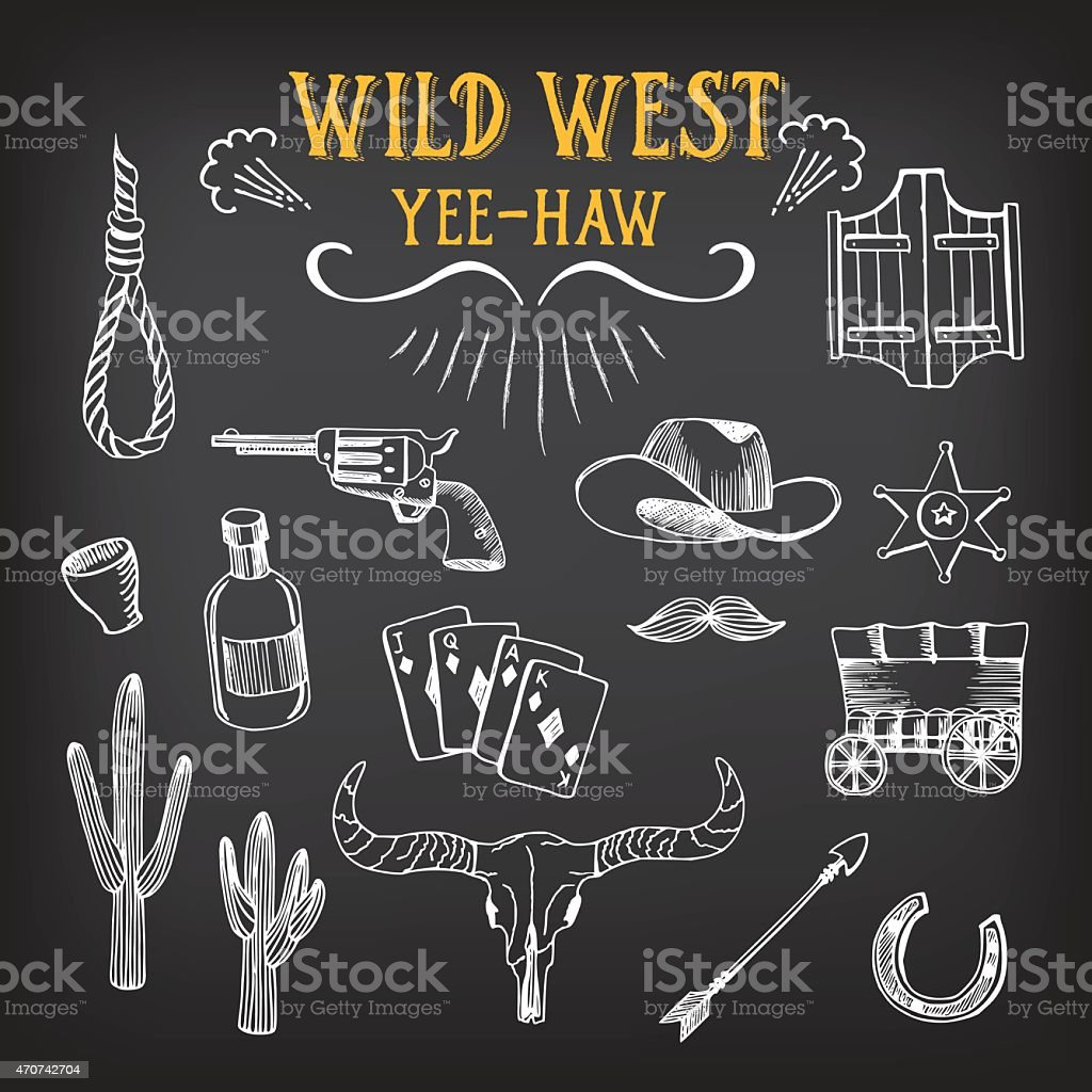 Set of Wild West icons in white on black background vector art illustration