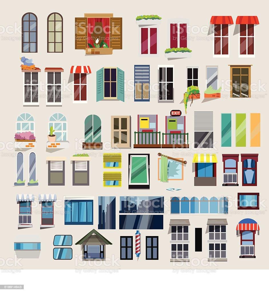 Set of windows - vector vector art illustration