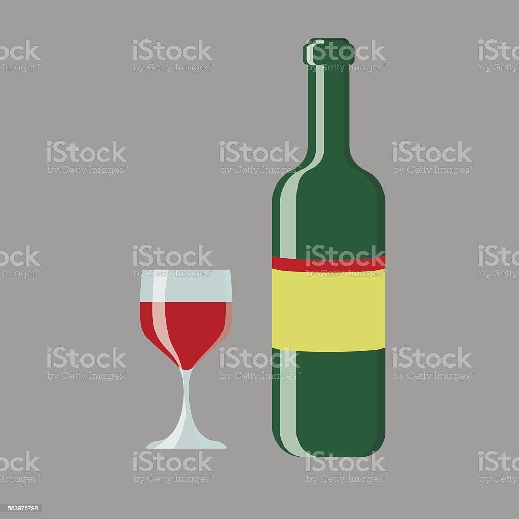 set of wine bottle and glass vector vector art illustration