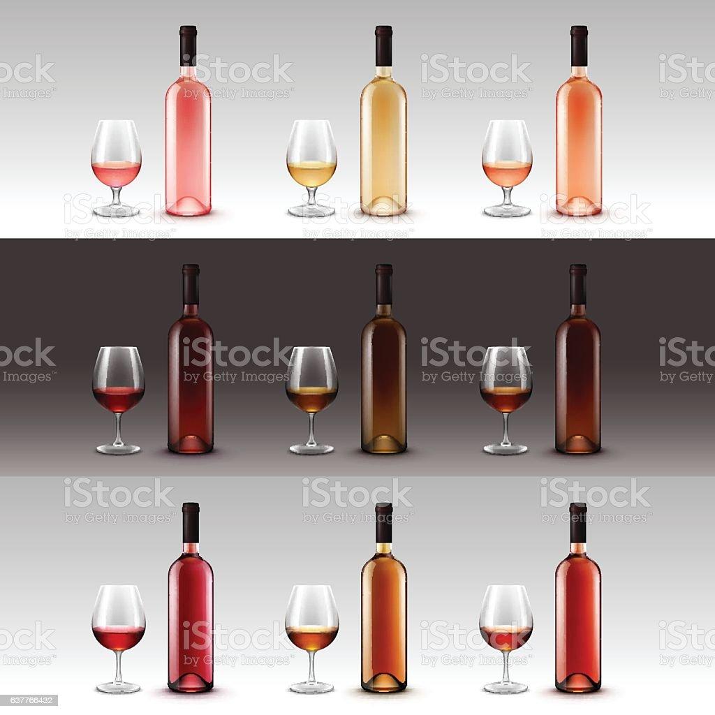Set of Wine Bottles and Glasses Isolated on Background vector art illustration