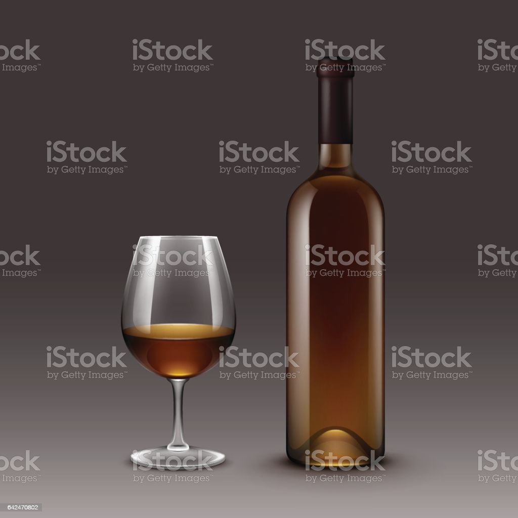 Set of Wine Bottles and Glasses Isolated on Background vector art illustration