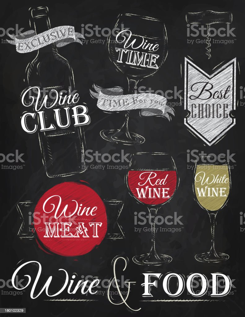 Set of wine. Chalk. royalty-free stock vector art