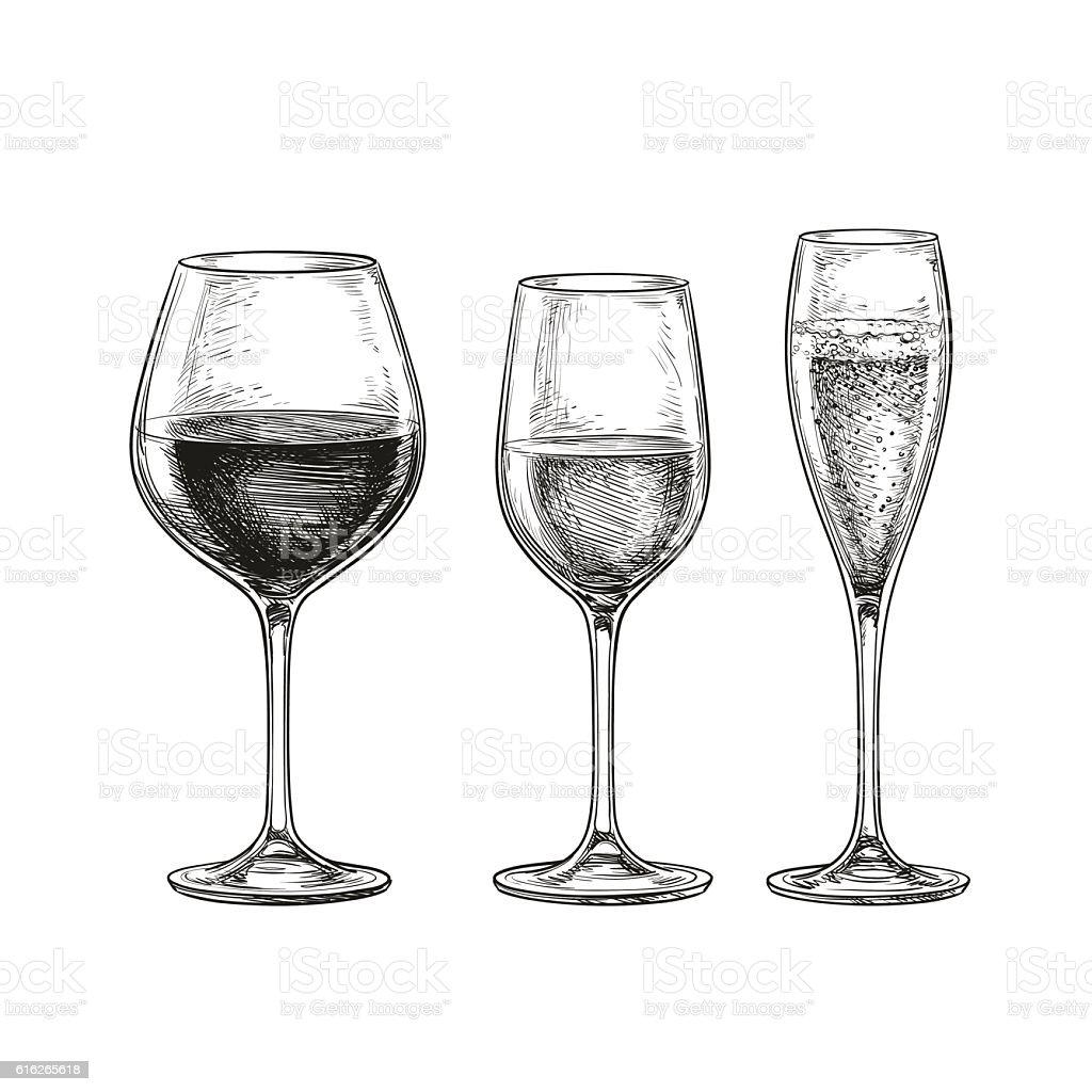 Set of wine glasses. vector art illustration