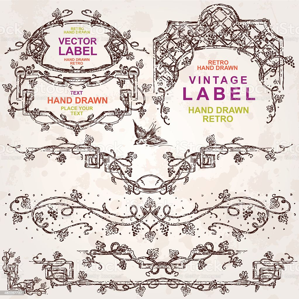 Set of Wine Hand Drawn Design Elements vector art illustration
