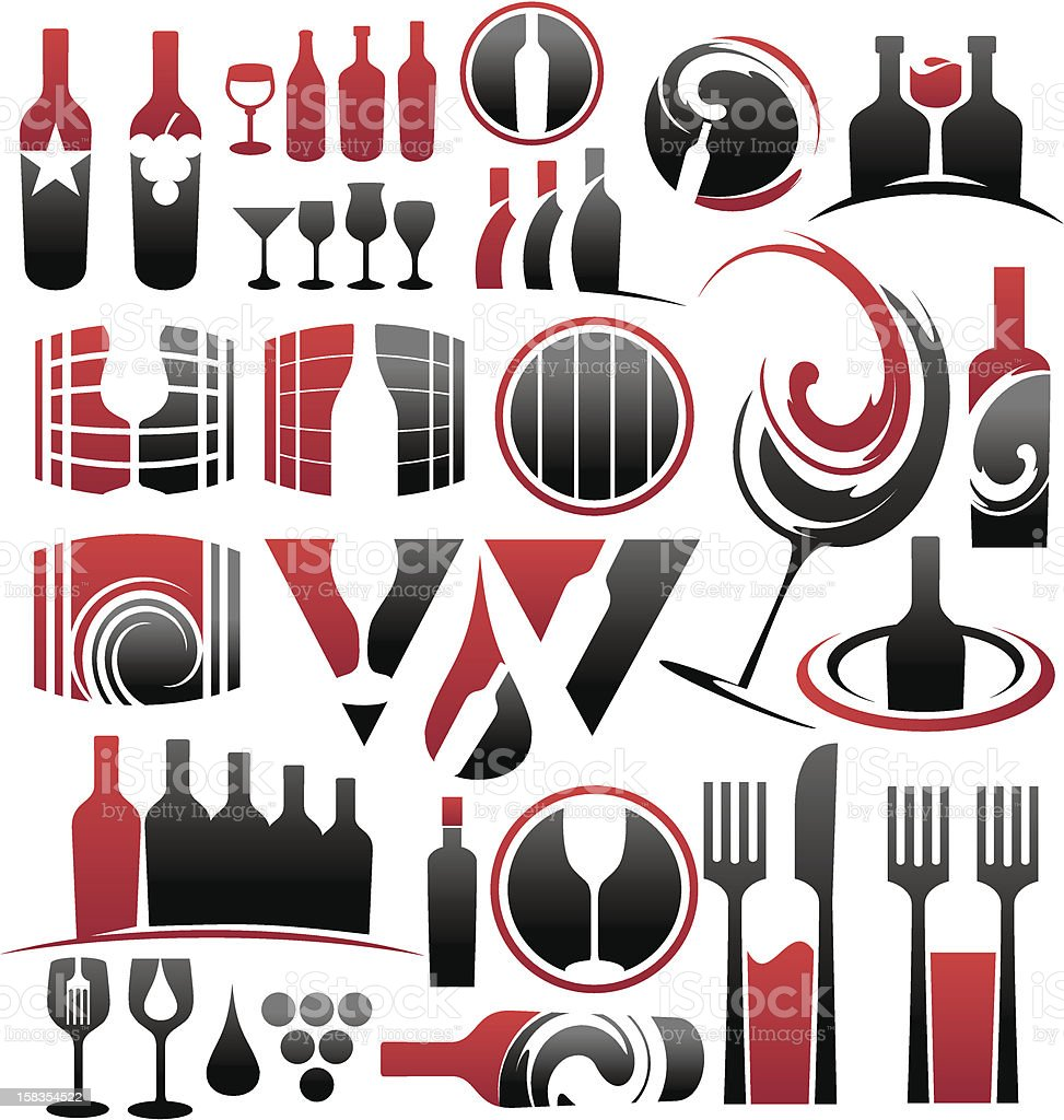Set of wine icons and design elements royalty-free stock vector art