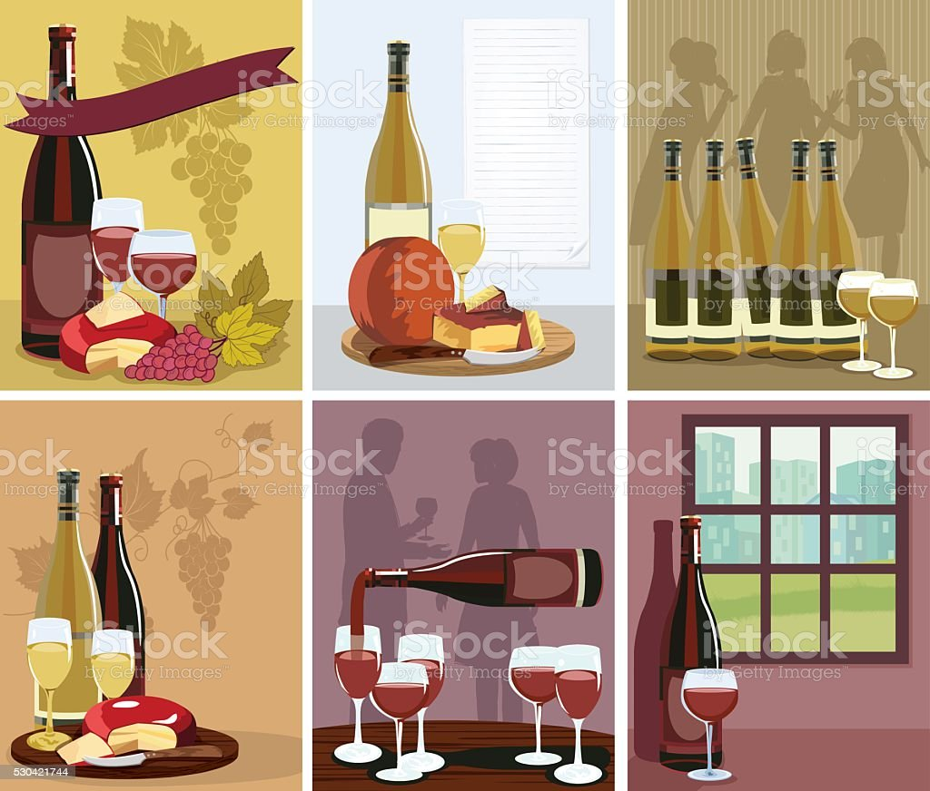 Set of Wine Illustrations vector art illustration