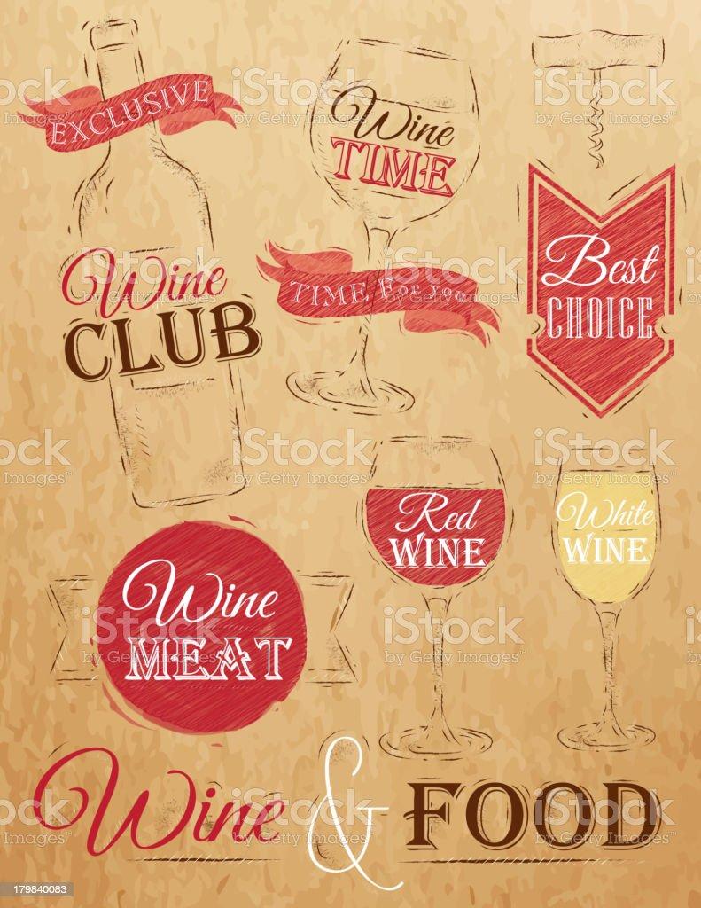 Set of wine kraft paper royalty-free stock vector art