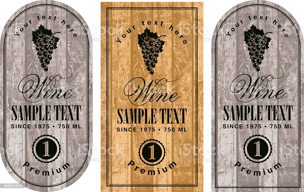 set of wine labels vector art illustration