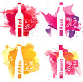 Set of wine list covers with watercolor background