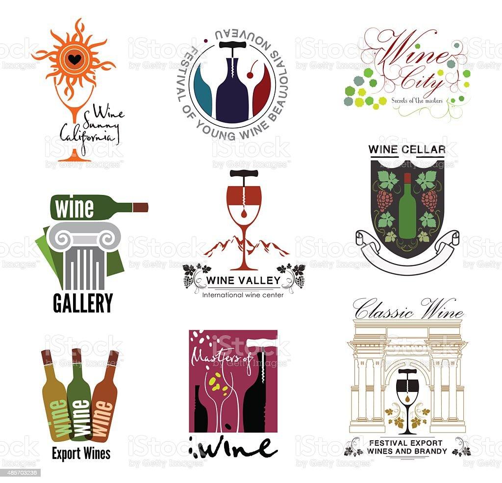 Set of wine, wine exhibition, wine festivals, restaurants and wine shops logos vector art illustration