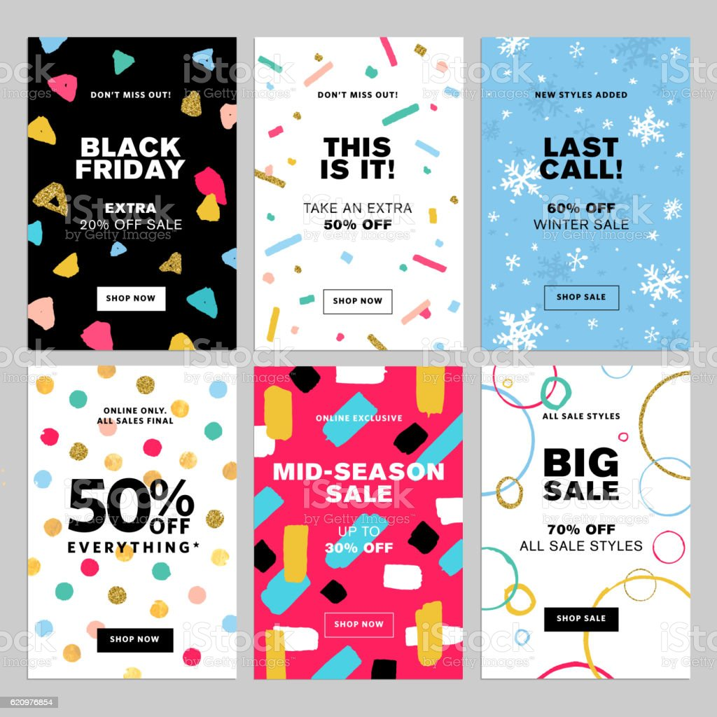 Set of winter mobile sale banners vector art illustration