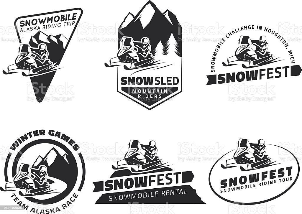 Set of winter snowmobile emblems, badges and icons. vector art illustration