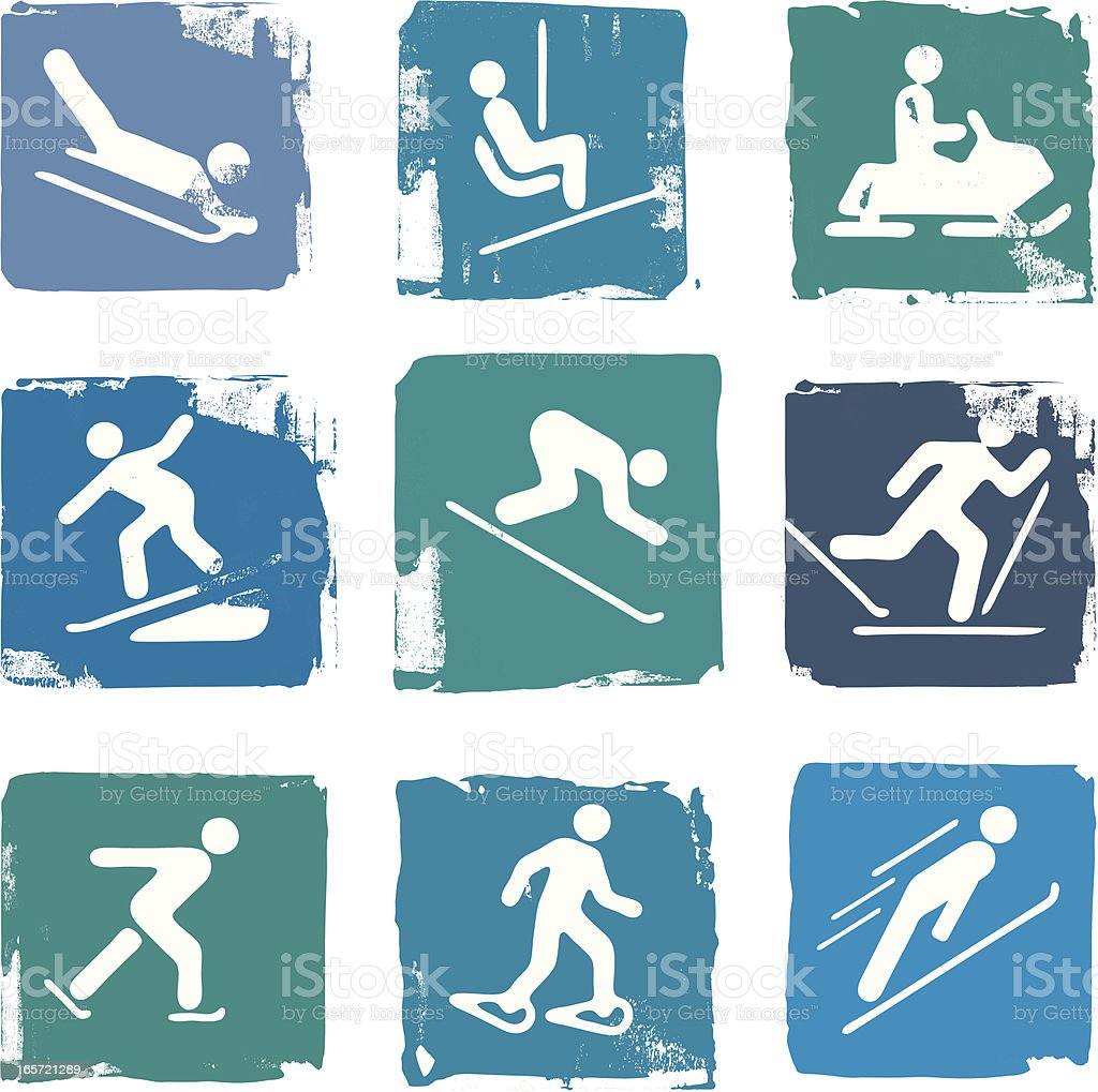 Set of winter sport icons royalty-free stock vector art