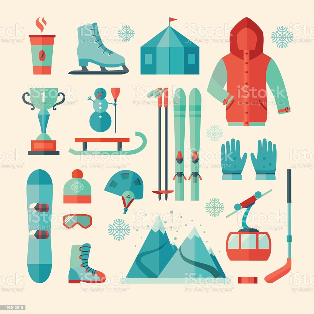 Set of winter sports icon vector art illustration