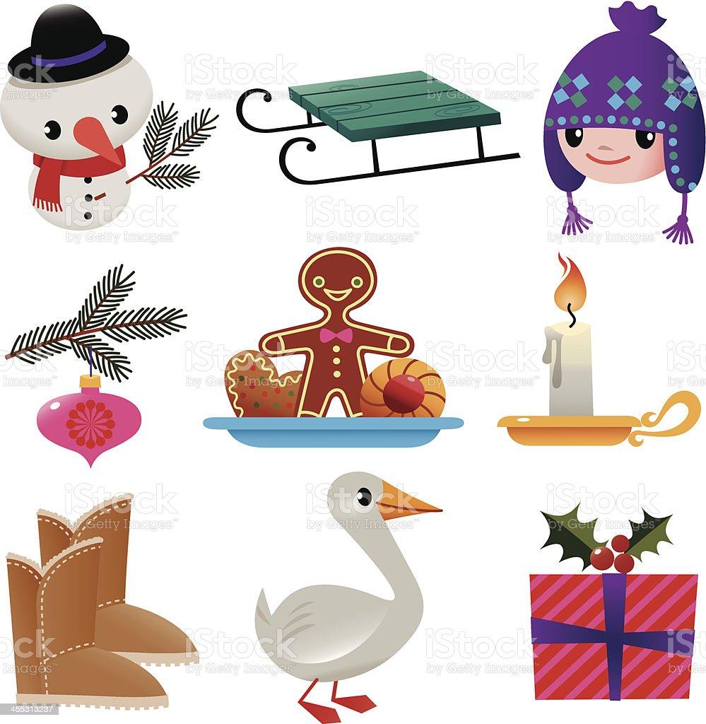 Set of Winter Stuff. vector art illustration