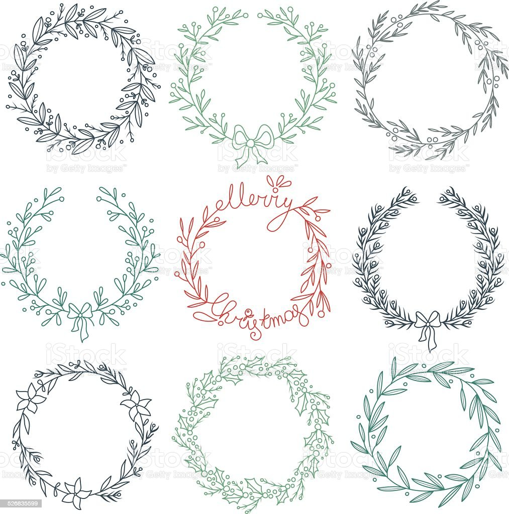 Set of winter wreaths vector art illustration