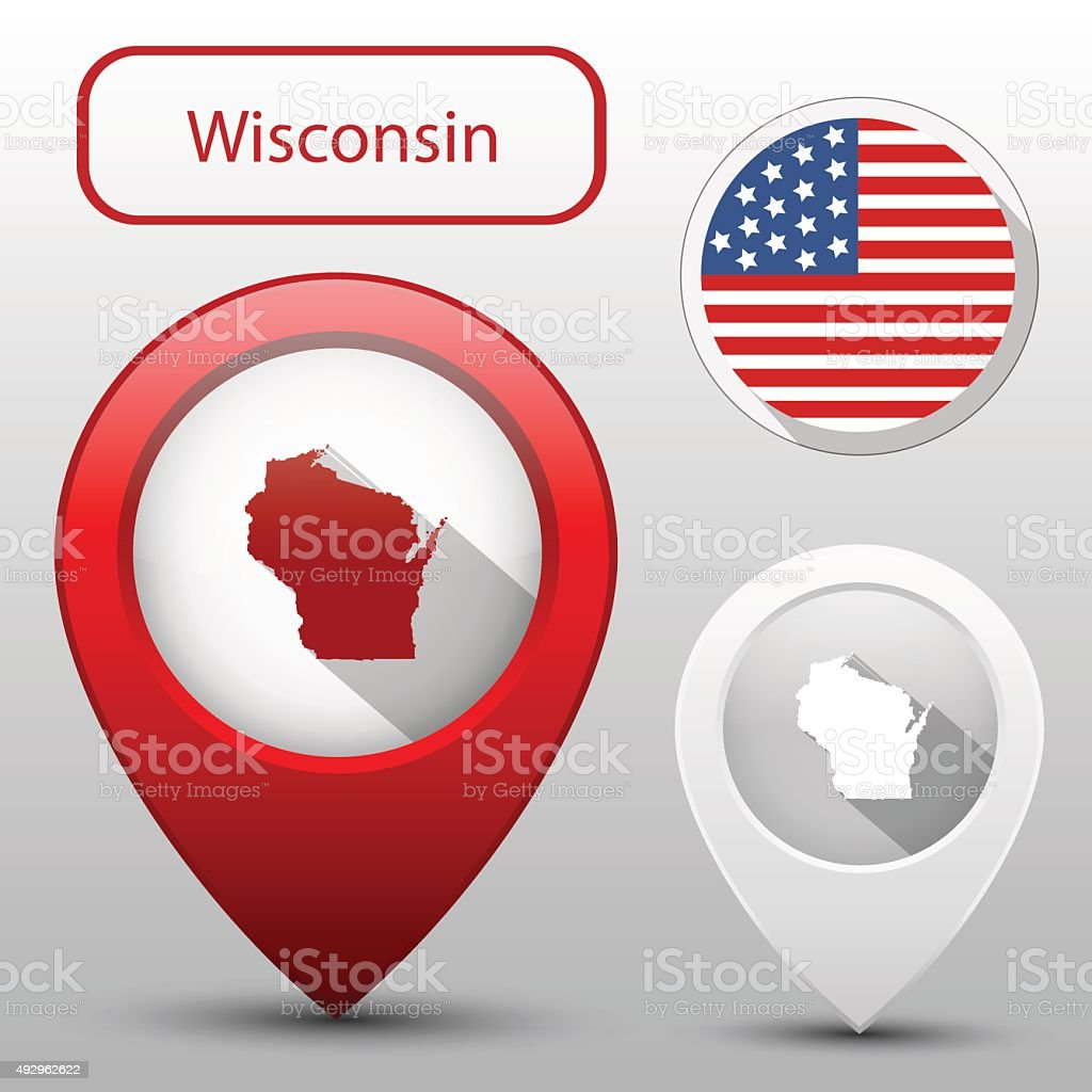 Set Of Wisconsin State With Flag America And Map Pointer Stock - Map of america wisconsin