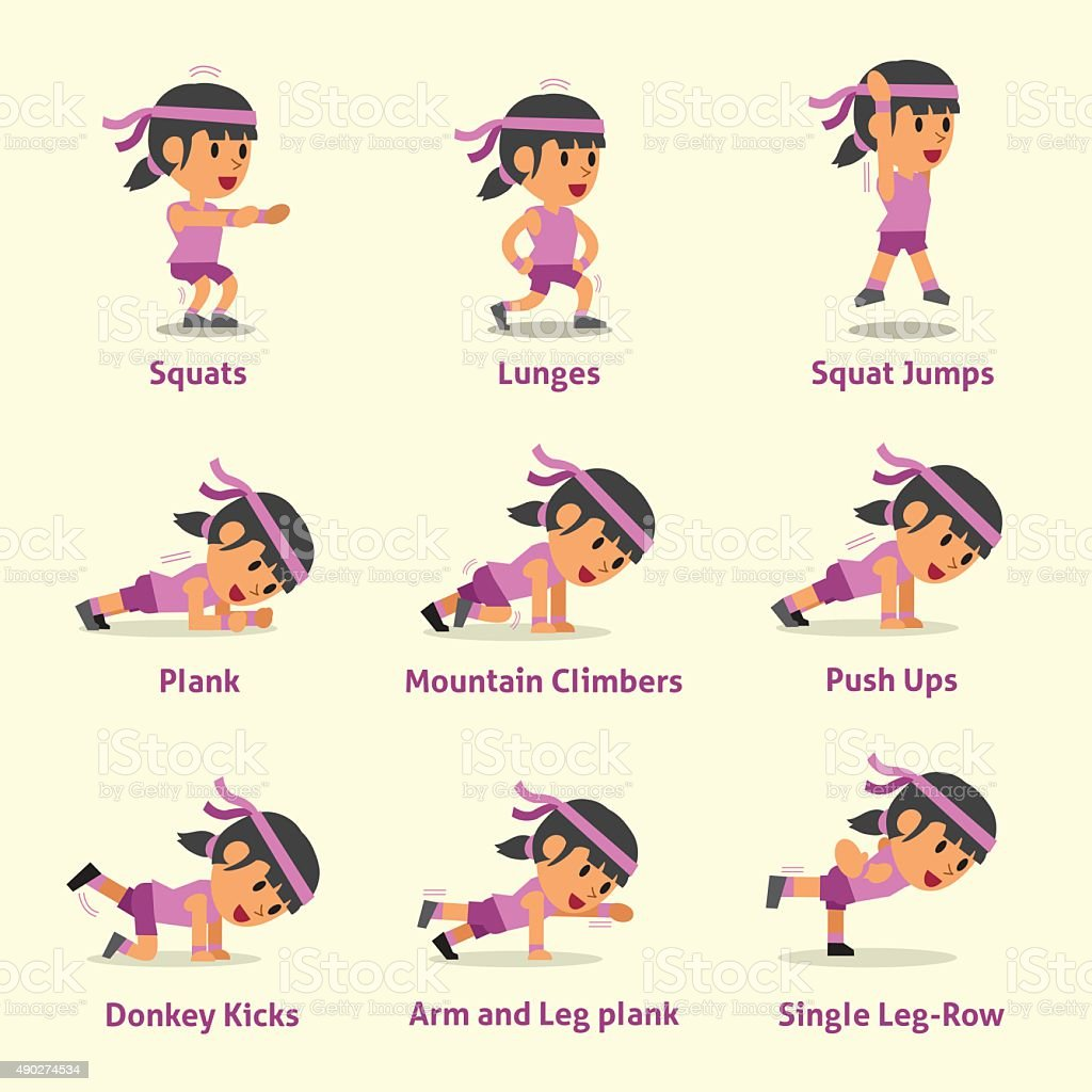 Set of woman doing exercises for health and fitness vector art illustration
