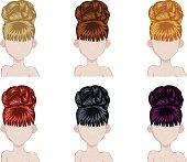 Set of woman hair style sprites.
