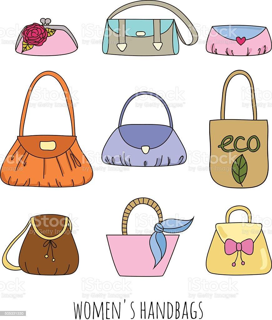 Set of woman handbags. vector art illustration