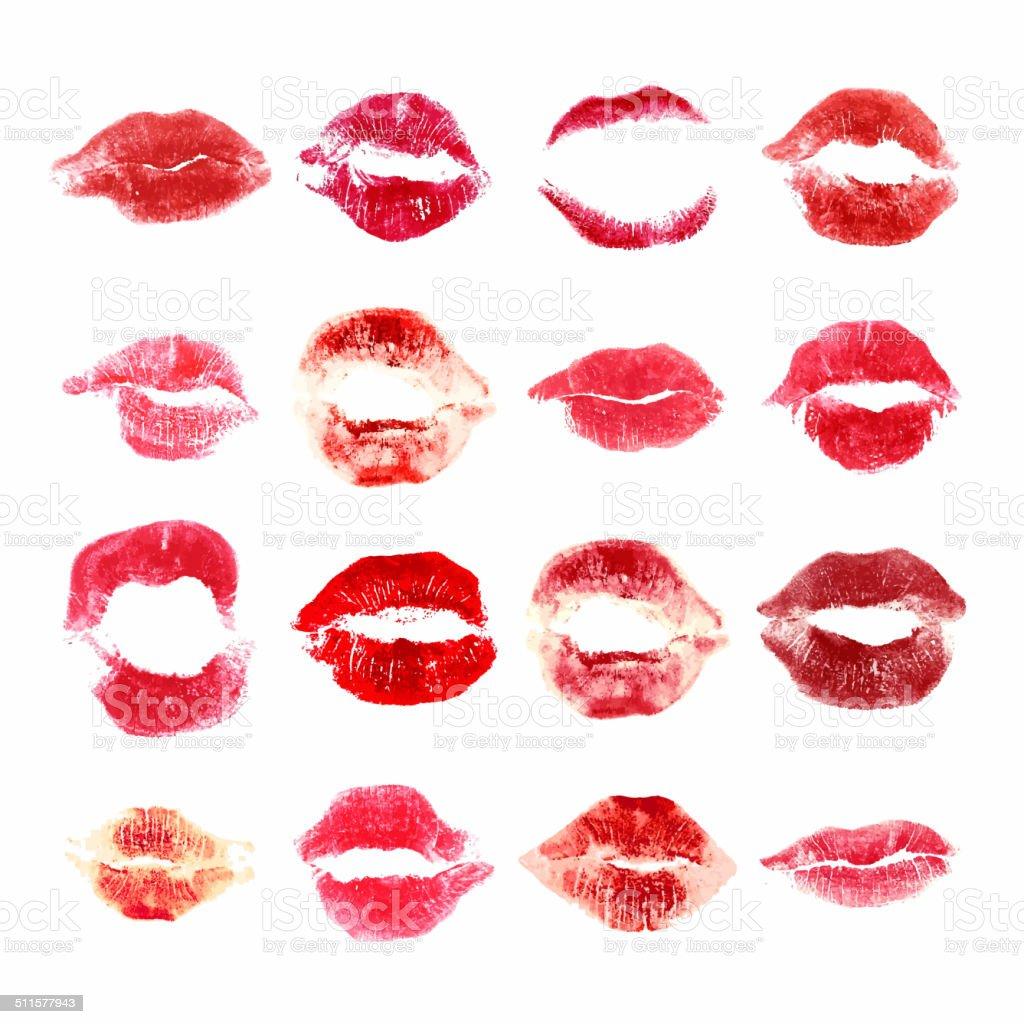 Set of woman lips on white background. Lipstick kiss. vector art illustration