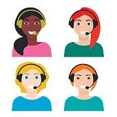 Set of woman telemarketer, call center operator