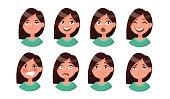Set of woman's emotions. Facial expression. Girl Avatar. Vector