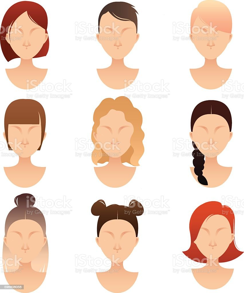 set of women faces with different hairstyles vector art illustration