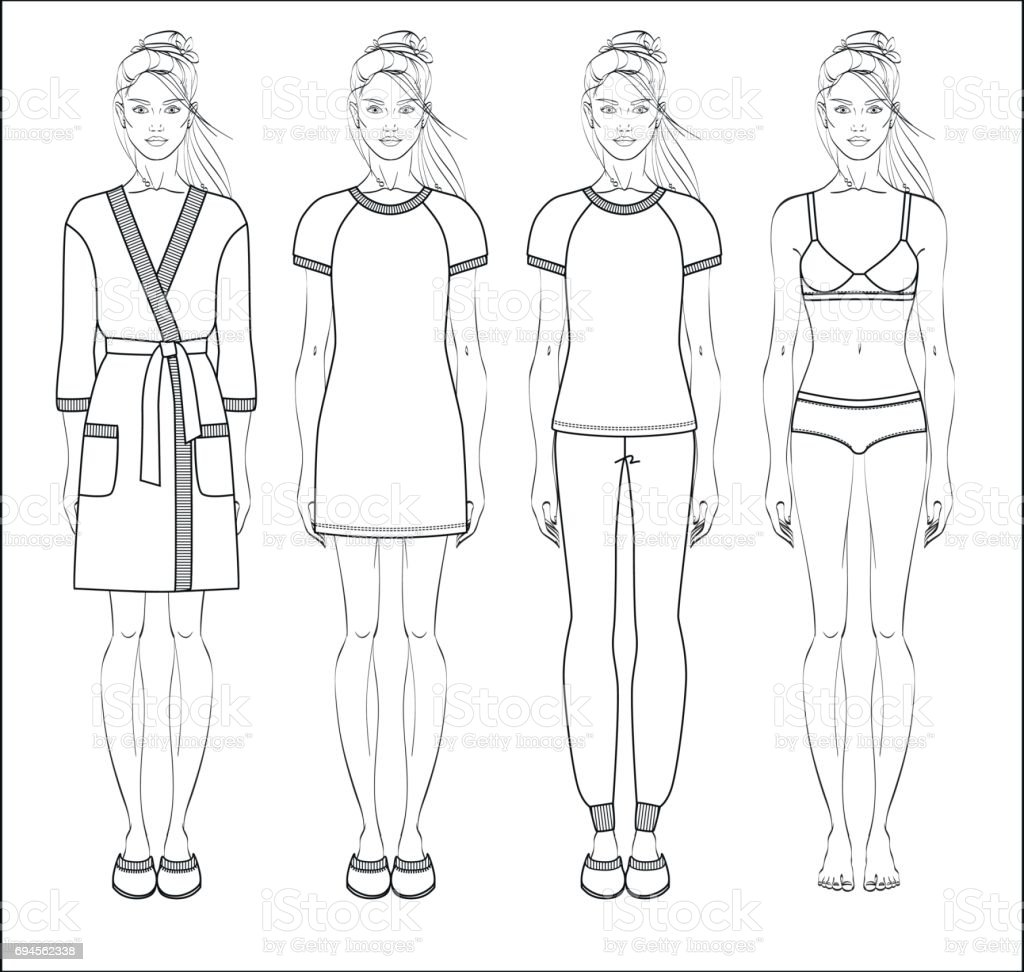 Set of women homewear, sleepwear and underwear. Bathrobe, nightgown, pyjama and lingerie on female figure. vector art illustration
