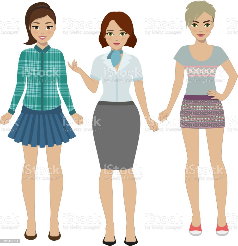 Set of women in different clothes vector art illustration