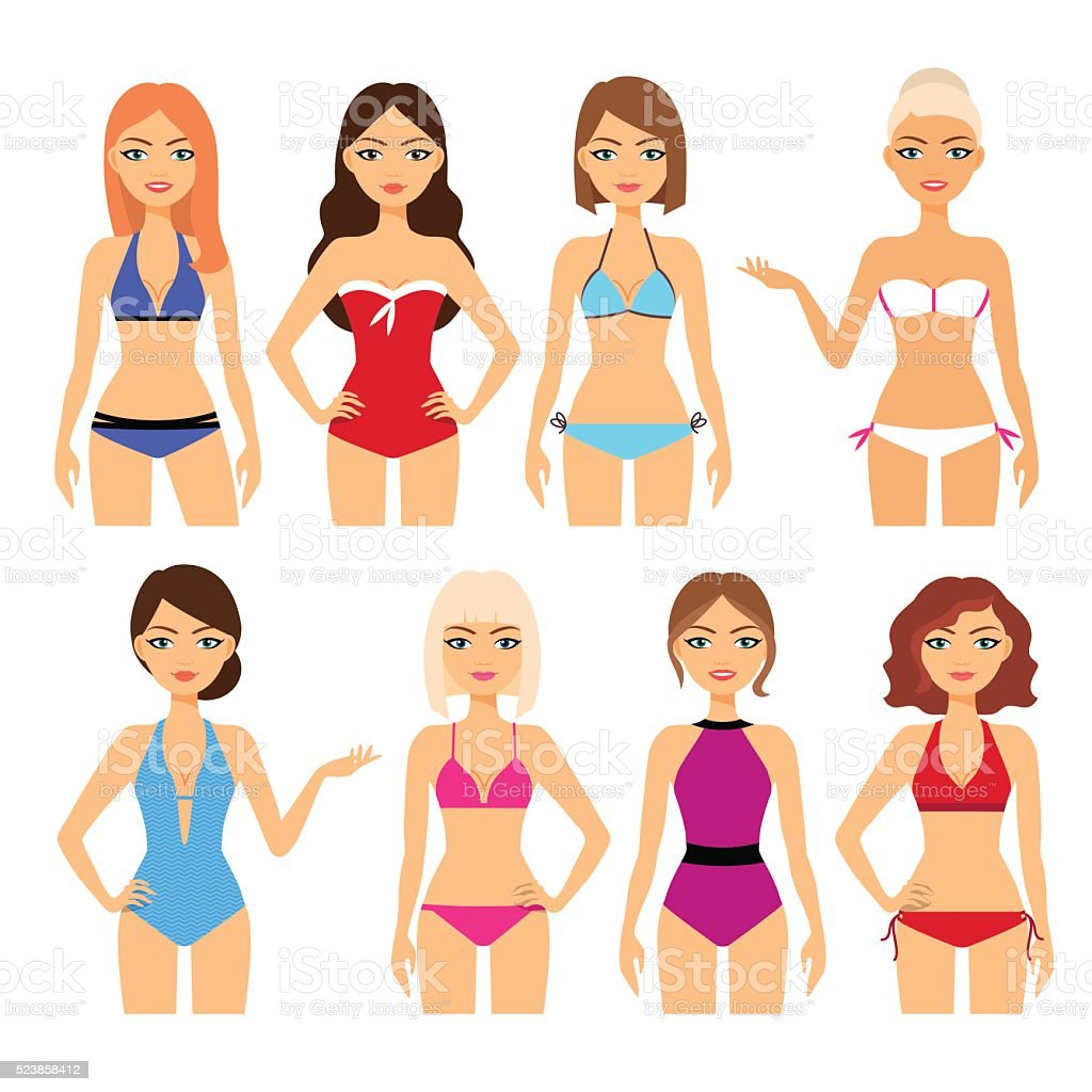 Set of women in different swimsuit vector art illustration