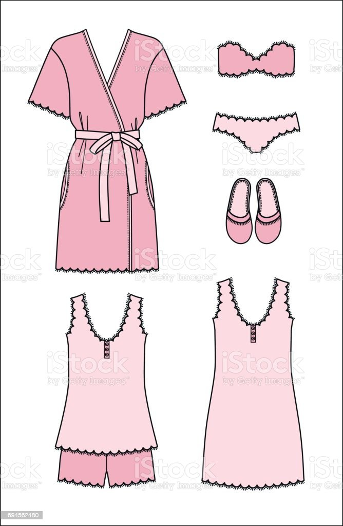Set of women s homewear, sleepwear and underwear. Pink bathrobe, nightgown, pyjama, slippers, bra and panty on white background. vector art illustration