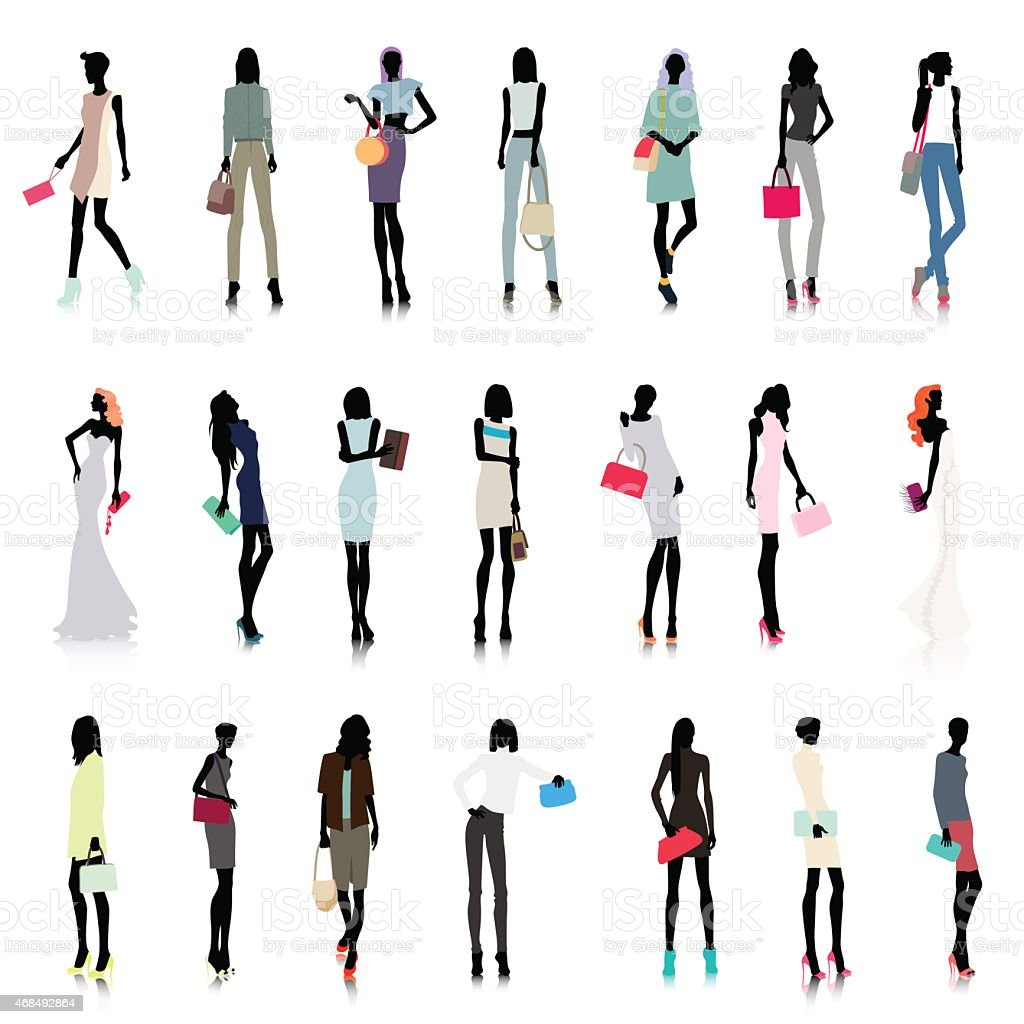 Set of women with bags colored vector art illustration