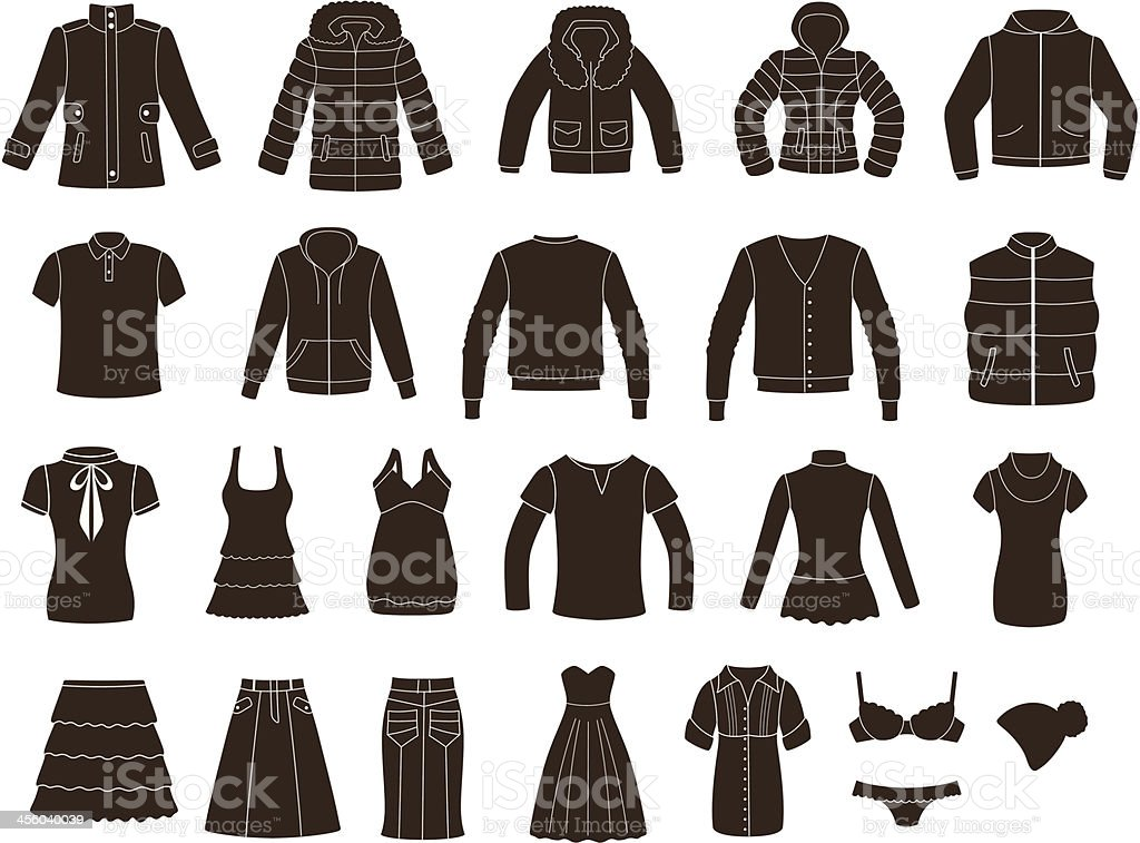 Set of women's and men's clothing. vector art illustration